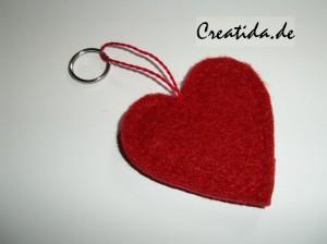 Schlüsselanhänger aus Filz Herz